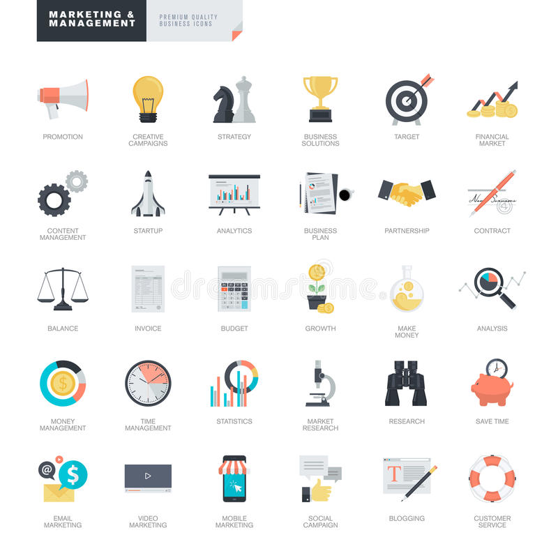 Vlakke ontwerp bedrijfs en marketing pictogrammen voor grafische en Webontwerpers stock illustratie