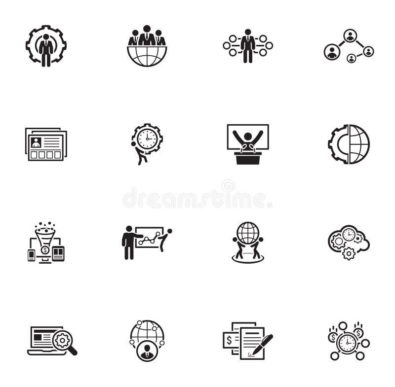Vlakke Ontwerp Bedrijfs Geplaatste Pictogrammen vector illustratie