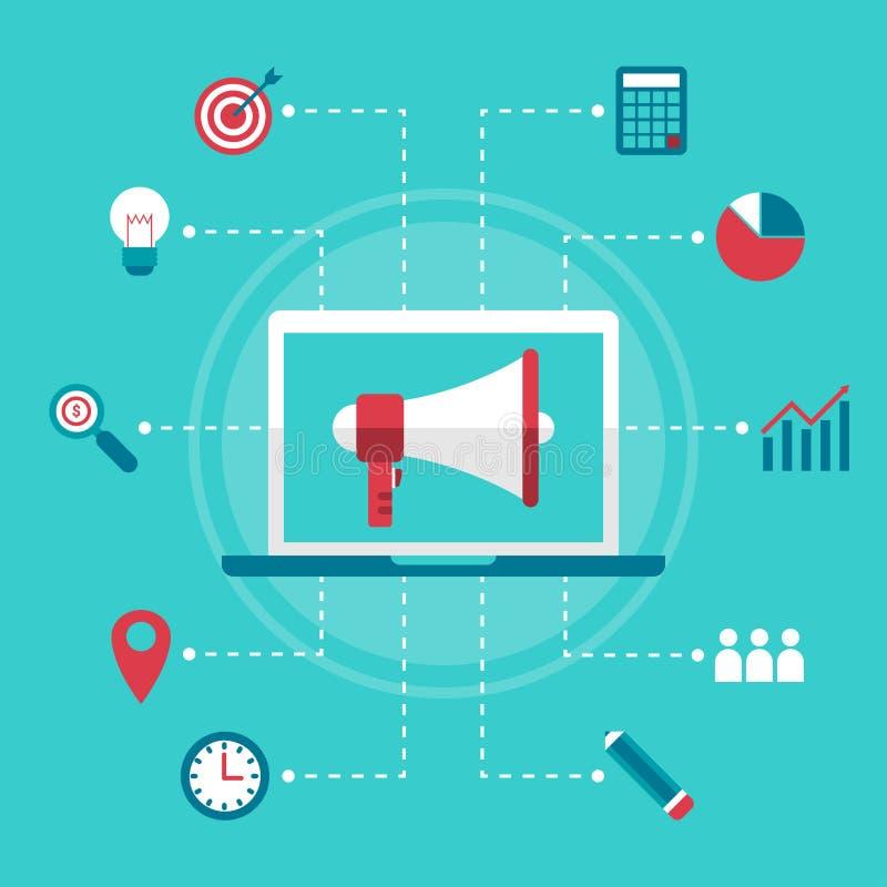 Vlakke ontwerp bedrijfs marketing megafoon digitale online handel stock illustratie