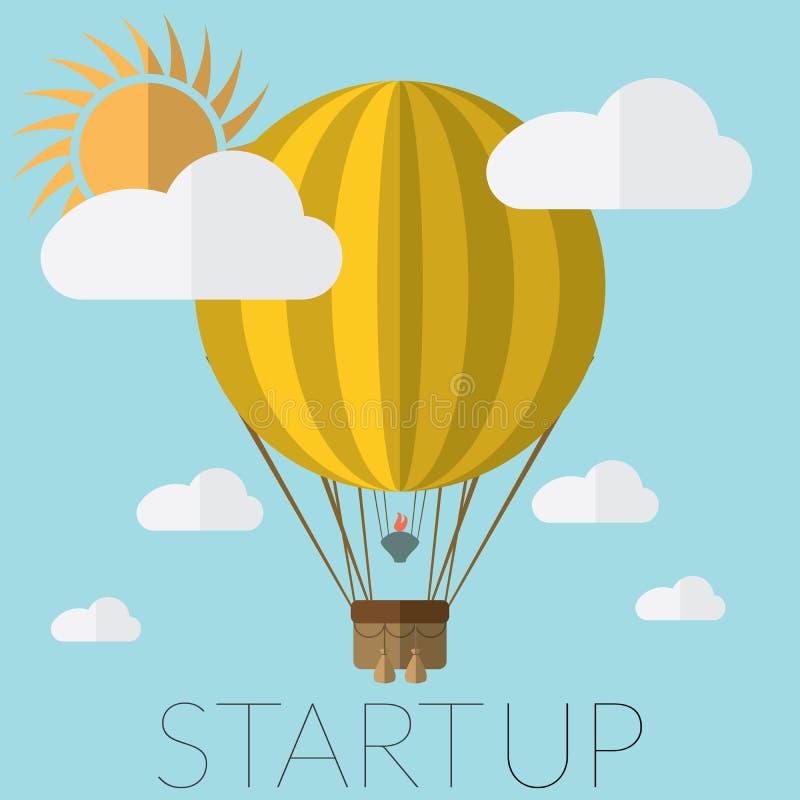 Vlakke ontwerp moderne vectorillustratie die van een concept van de hete luchtballon voor nieuw bedrijfsprojectopstarten, nieuwe  vector illustratie