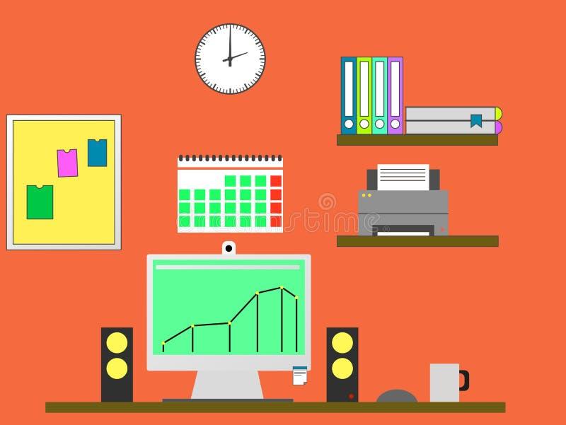 Vlakke ontwerp modieuze illustratie die van manager met computer in moderne bureauwerkruimte werken stock illustratie