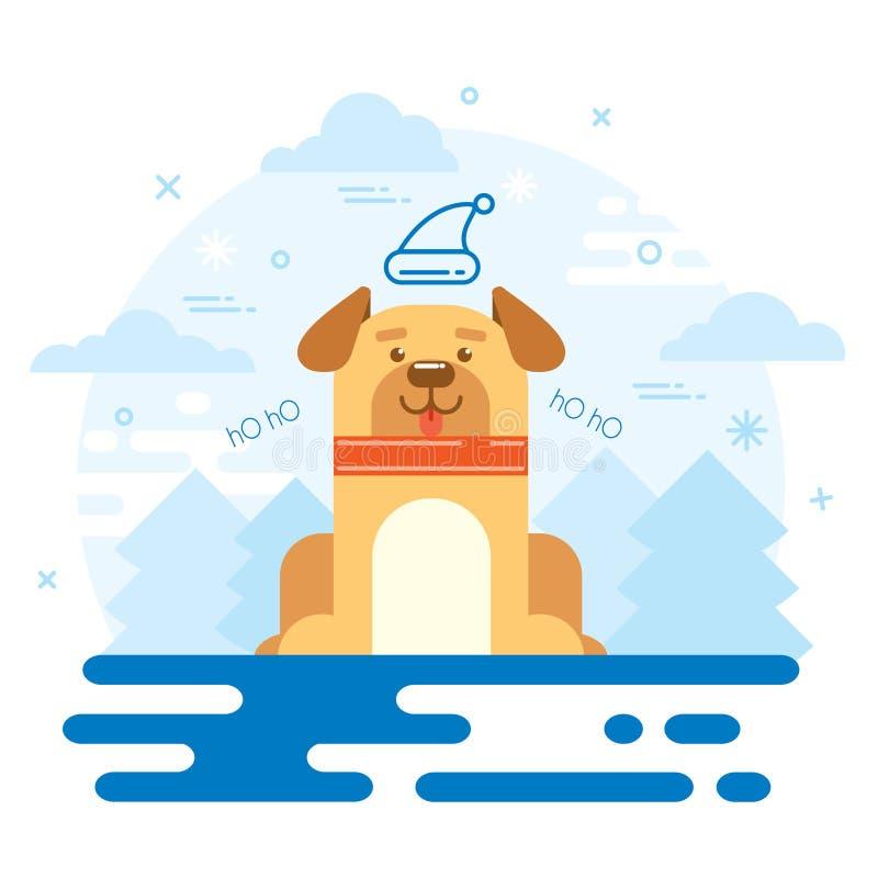 Vlakke ontwerp van het hond het nieuwe jaar 2018 vector illustratie
