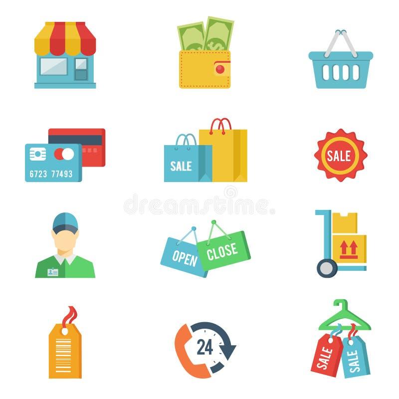 Vlakke ontwerp vector het winkelen pictogrammen vector illustratie