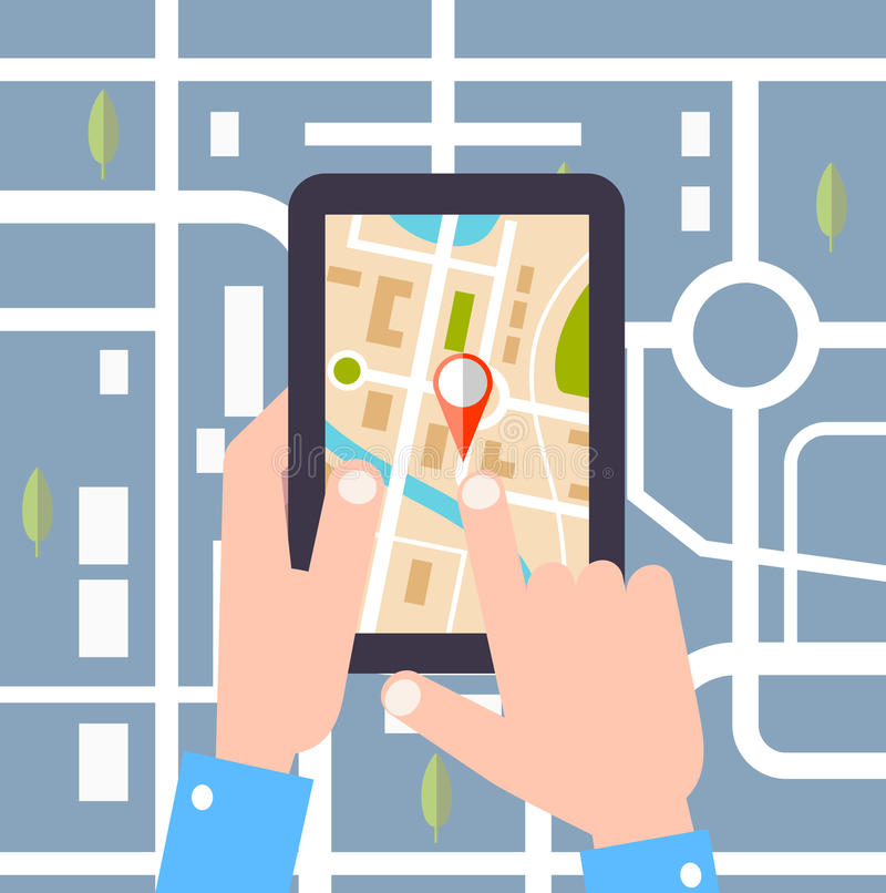 Vlakke ontwerp vectorillustratie GPS-technologie het leggen van een routereis, toerisme stock illustratie
