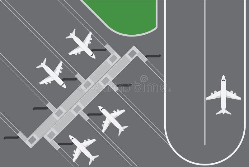 Vlakke ontwerp vectorillustratie van de terminal van Luchthaven buildingwith plannen met baan vector illustratie
