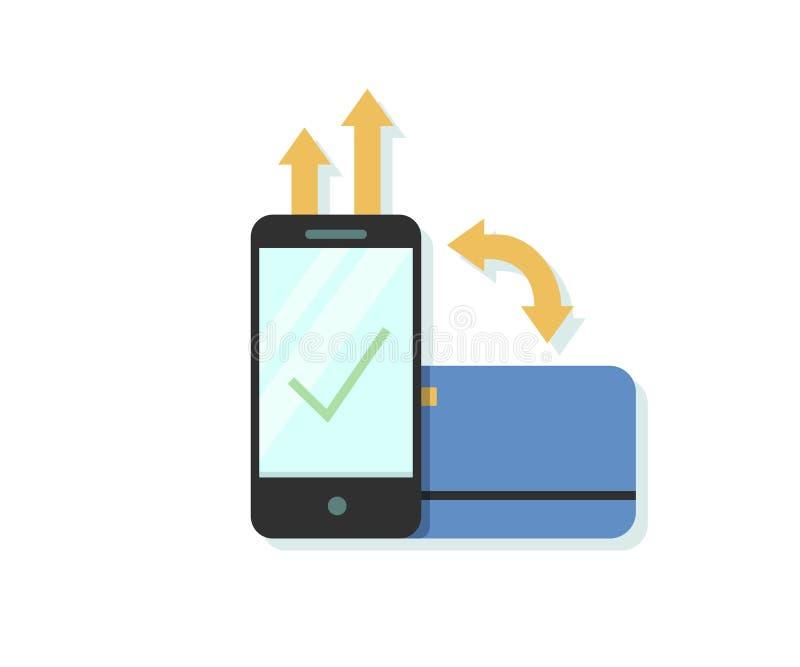Vlakke ontwerp vectorillustratie van online betaling via smartphone app met krediet of debetkaart royalty-vrije illustratie