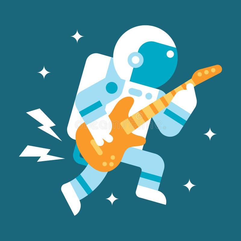Vlakke ontwerpastronaut het spelen gitaar royalty-vrije illustratie