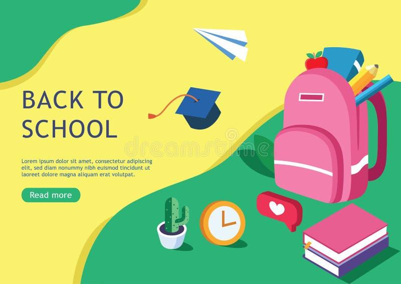 Vlakke ontwerpbanner voor terug naar school voor webpagina en promotiematerialen stock illustratie