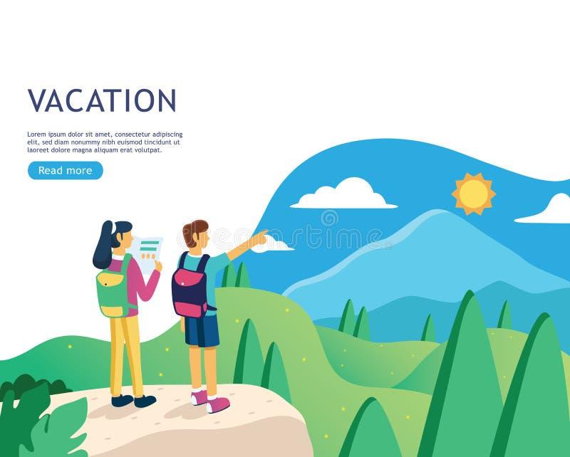 Vlakke ontwerpbanner voor vakantiewebpagina, vakantiereis planning, reisbestemming, reisorganisatie royalty-vrije illustratie