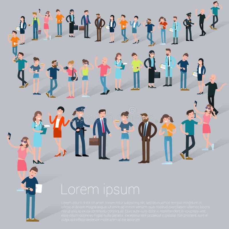 Vlakke ontwerpc mensen die in lijn wachten stock illustratie