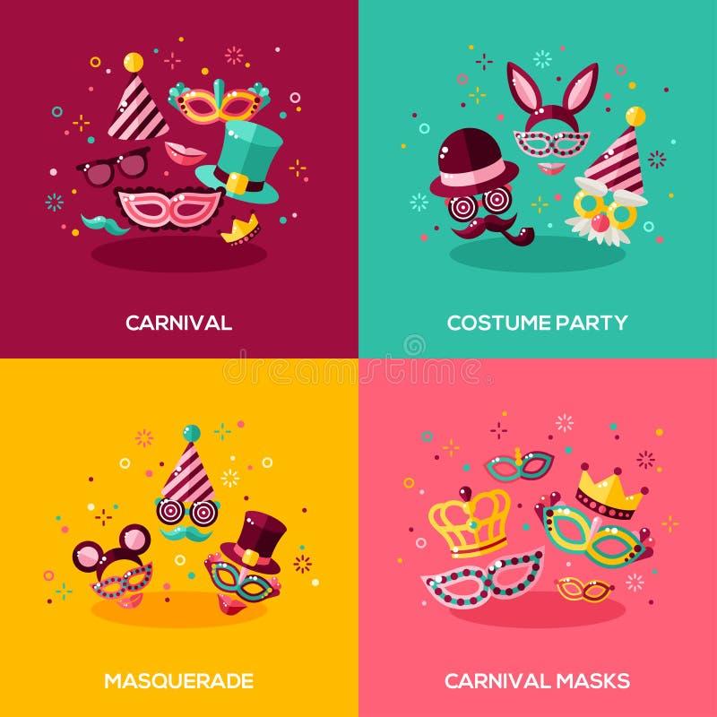 Vlakke ontwerpconcepten Carnaval royalty-vrije illustratie