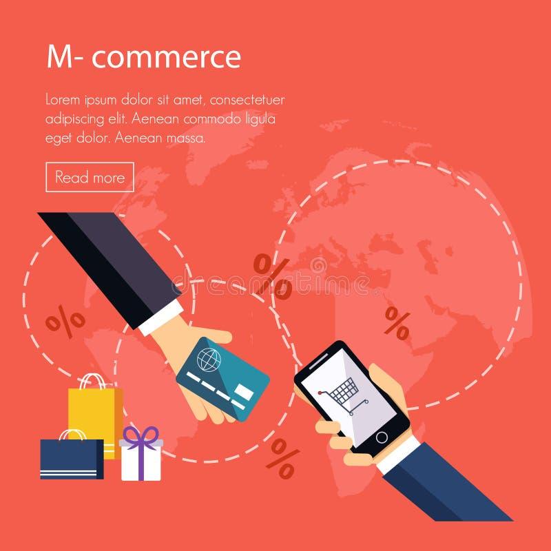 Vlakke ontwerpconcepten Internet-bankwezen en stock illustratie
