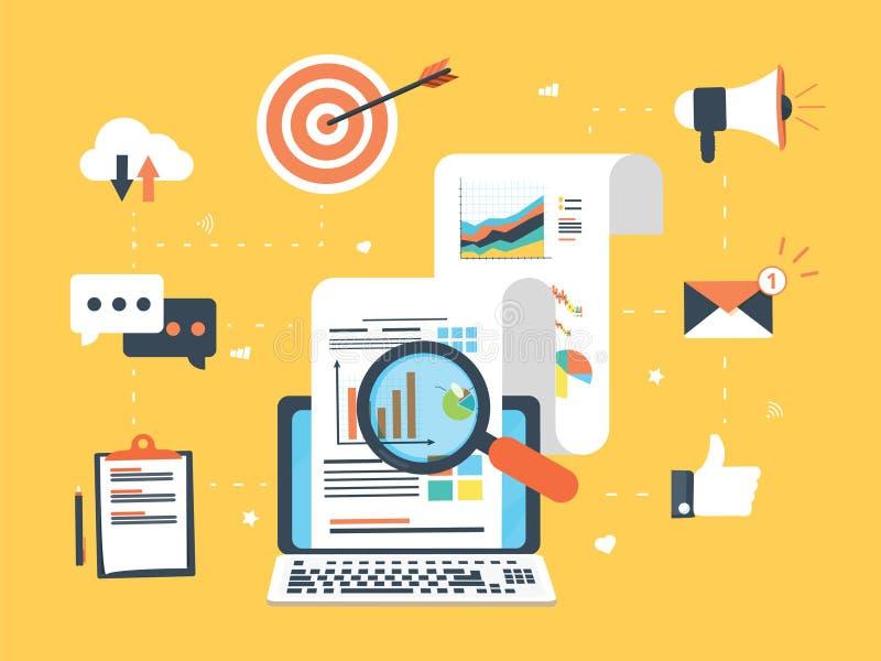 Vlakke ontwerpconcepten voor bedrijfs marketing, analytics en strategie vector illustratie