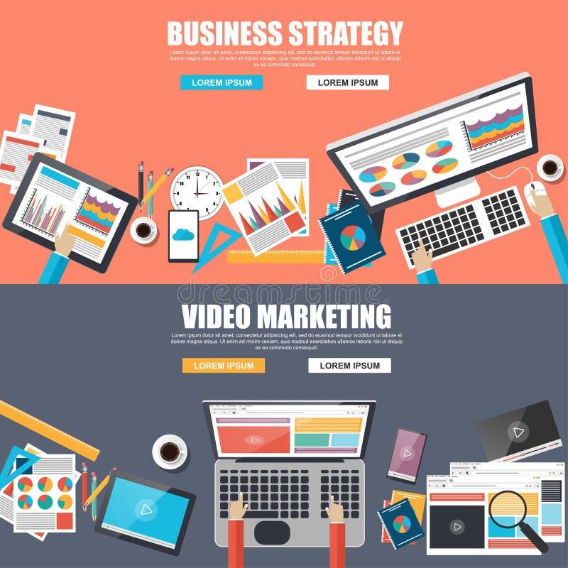 Vlakke ontwerpconcepten voor bedrijfsstrategie en video marketing royalty-vrije illustratie