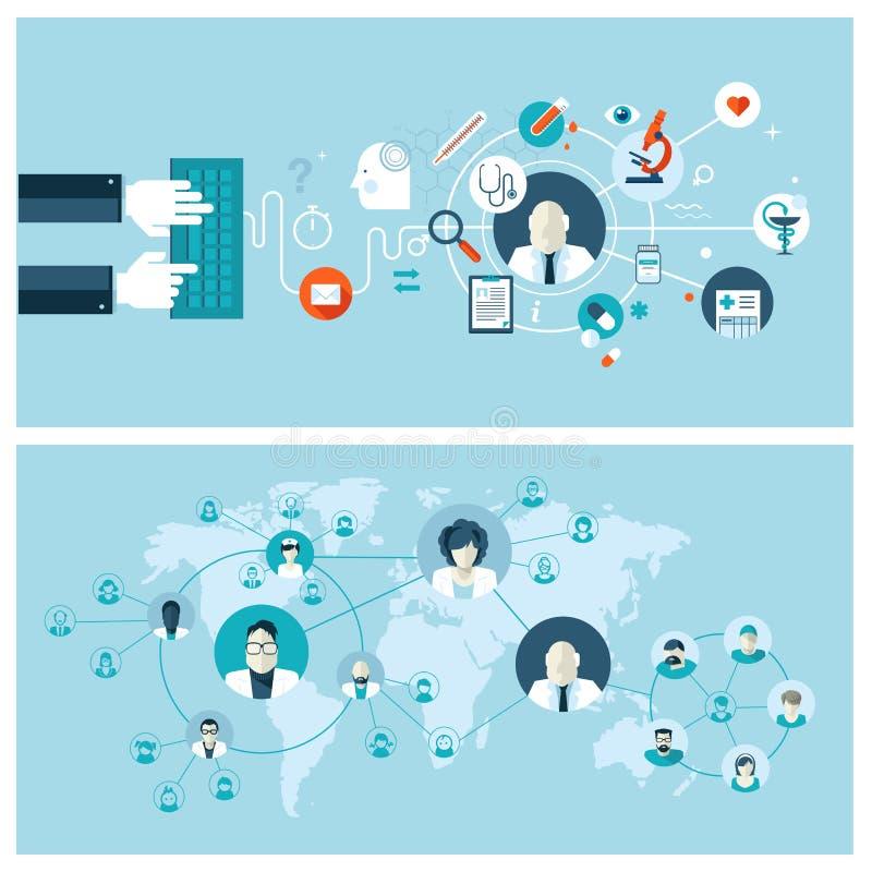 Vlakke ontwerpconcepten voor de online medische diensten a vector illustratie