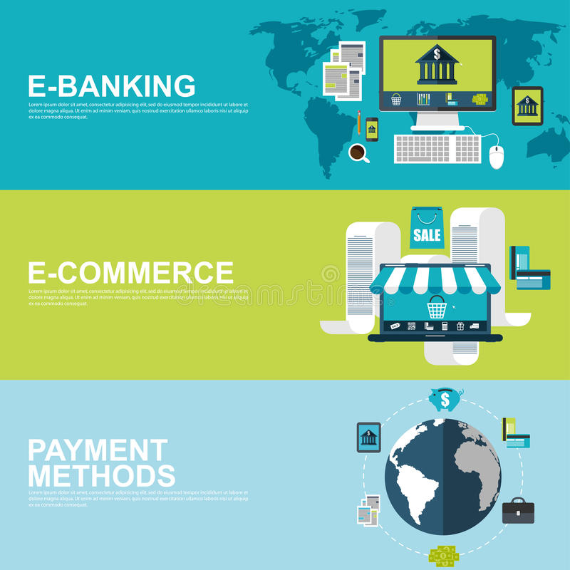 Vlakke ontwerpconcepten voor elektronische handel, e-bankwezen en betalingsmethodes stock illustratie