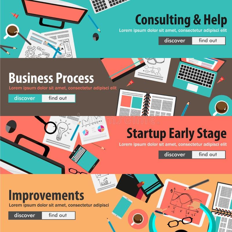 Vlakke ontwerpconcepten voor mobiele marketing en geld investeringen stock illustratie