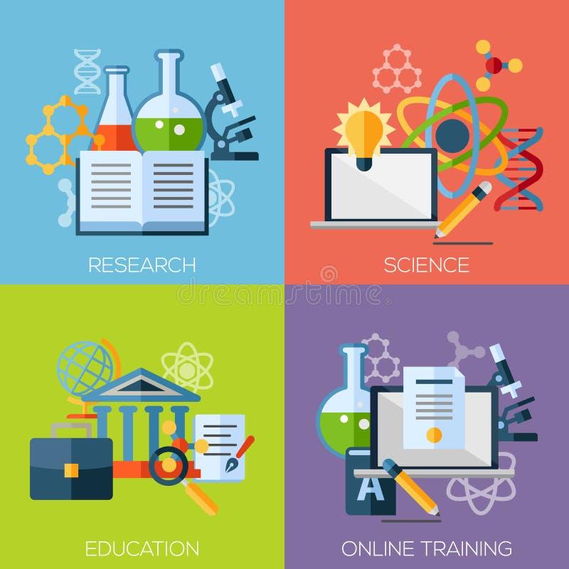 Vlakke ontwerpconcepten voor onderzoek, wetenschap royalty-vrije illustratie