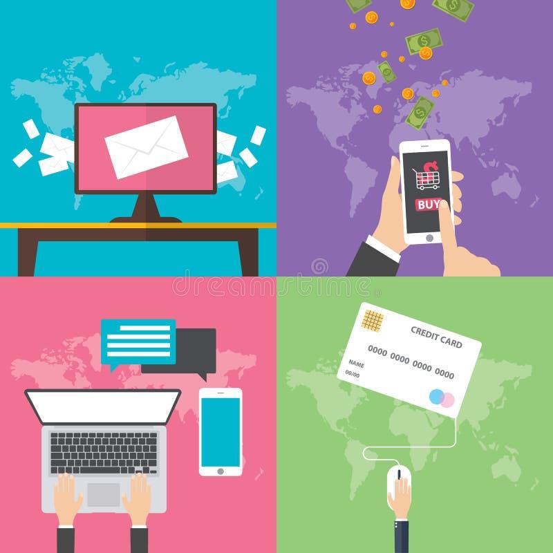 Vlakke ontwerpconcepten voor online mededeling royalty-vrije illustratie