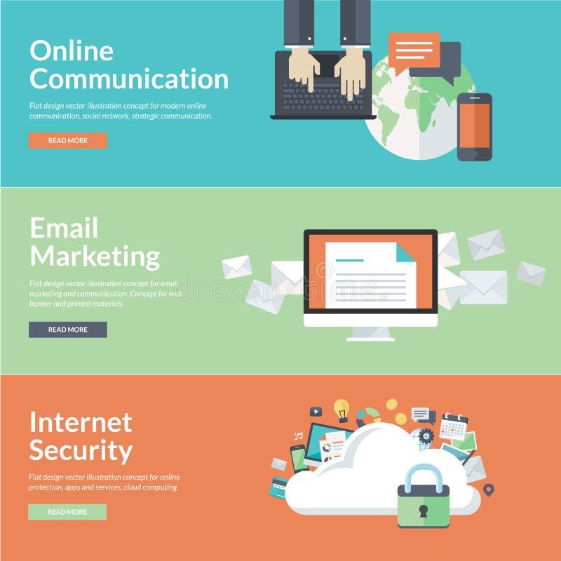 Vlakke ontwerpconcepten voor online mededelingen vector illustratie