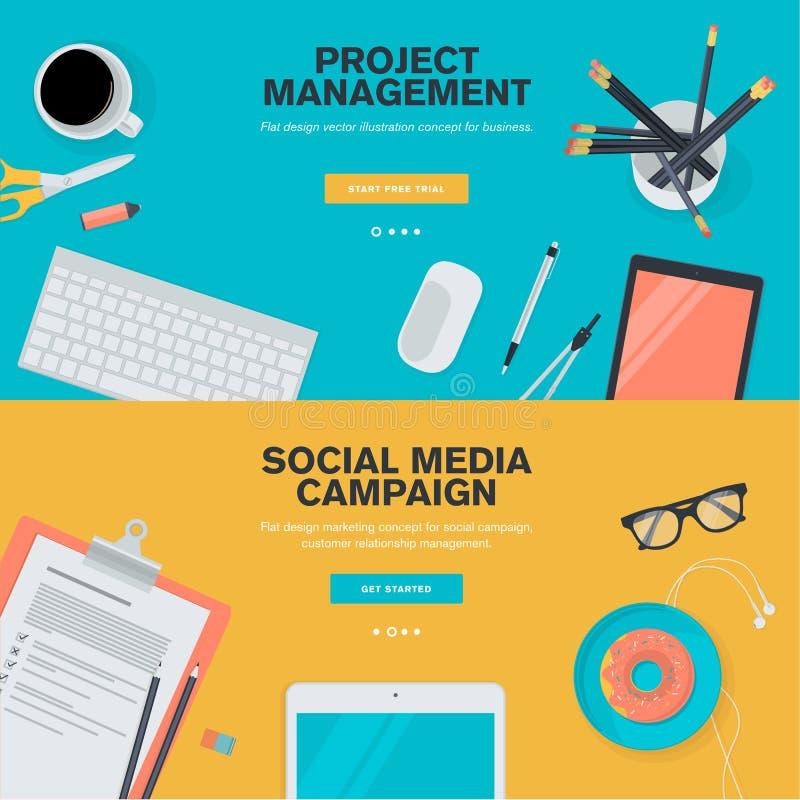 Vlakke ontwerpconcepten voor projectleiding en sociale media campagne royalty-vrije illustratie