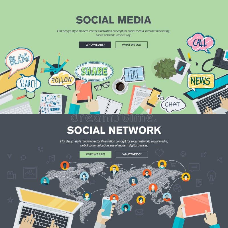 Vlakke ontwerpconcepten voor sociale media en sociaal netwerk stock illustratie