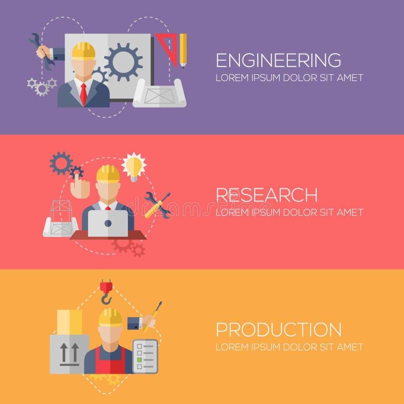 Vlakke ontwerpconcepten voor techniek, onderzoek stock illustratie