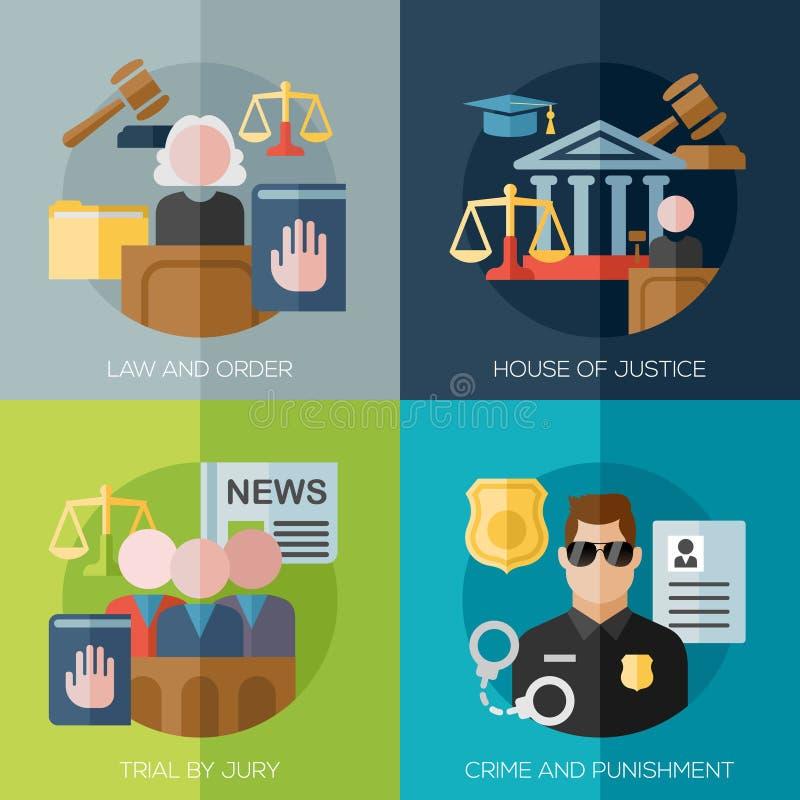 Vlakke ontwerpconcepten voor wet en orde, huis van stock illustratie