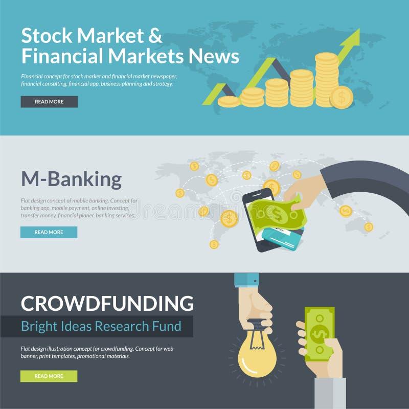 Vlakke ontwerpconcepten voor zaken en financiën stock illustratie