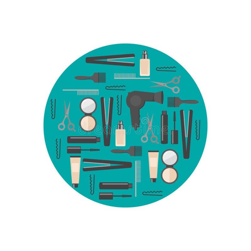 Vlakke ontwerpelementen van de kosmetiek, het kappen, make-up en manicure Van het kuuroordhulpmiddelen en materiaal reeks Kosmeti royalty-vrije illustratie