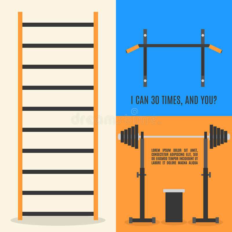 Vlakke ontwerpelementen voor gymnastiek en geschiktheid, vectorillustratie royalty-vrije illustratie