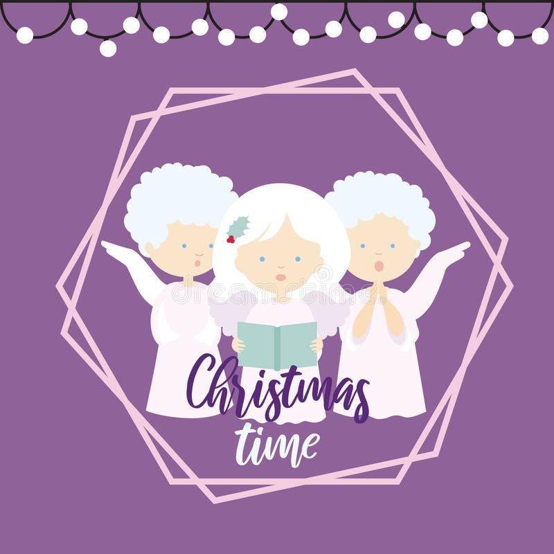 Vlakke ontwerpillustratie van een kaart die van de Kerstmisgroet met drie engelen hymnes op een purpere tijd zingen als achtergro vector illustratie