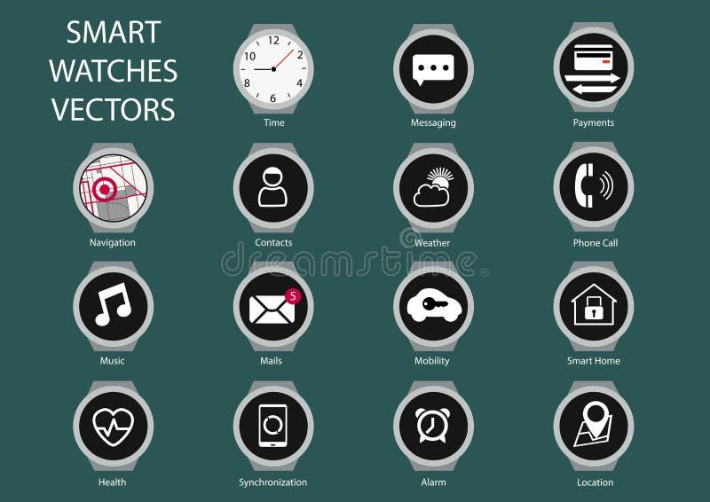Vlakke ontwerpillustratie van het slimme pictogram van de horlogewijzerplaat royalty-vrije illustratie