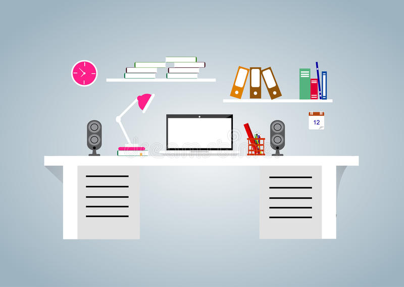 Vlakke ontwerpillustratie van modern bureaubinnenland vector illustratie