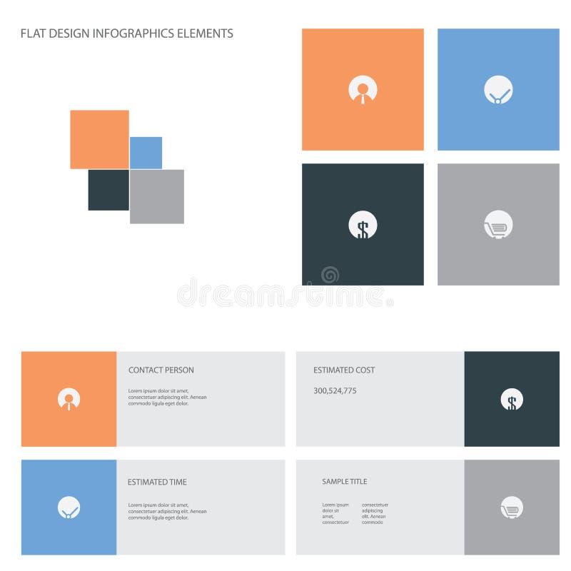 Vlakke ontwerppictogrammen geplaatst infographics voor zaken royalty-vrije illustratie