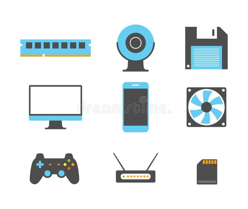 Vlakke ontwerppictogrammen van computer en mobiele apparaten vector illustratie