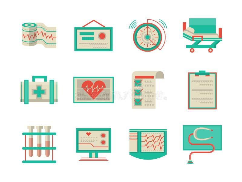 Vlakke ontwerppictogrammen voor cardiologie royalty-vrije illustratie