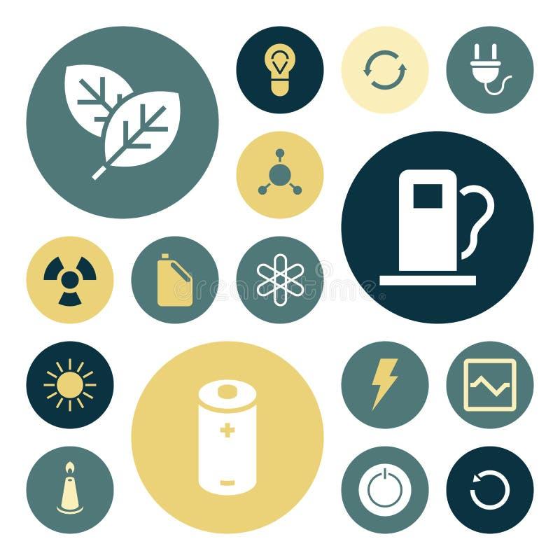 Vlakke ontwerppictogrammen voor energie en ecologie royalty-vrije illustratie