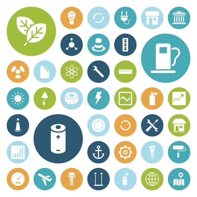Vlakke ontwerppictogrammen voor industrieel, energie en ecologie stock illustratie