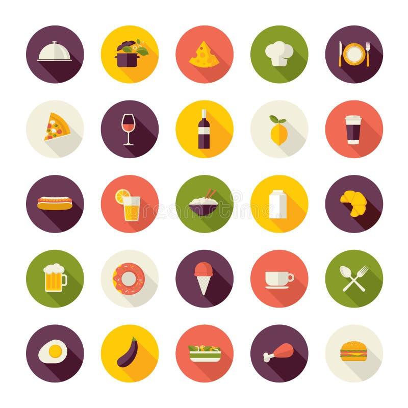 Vlakke ontwerppictogrammen voor restaurant, voedsel en drank stock illustratie