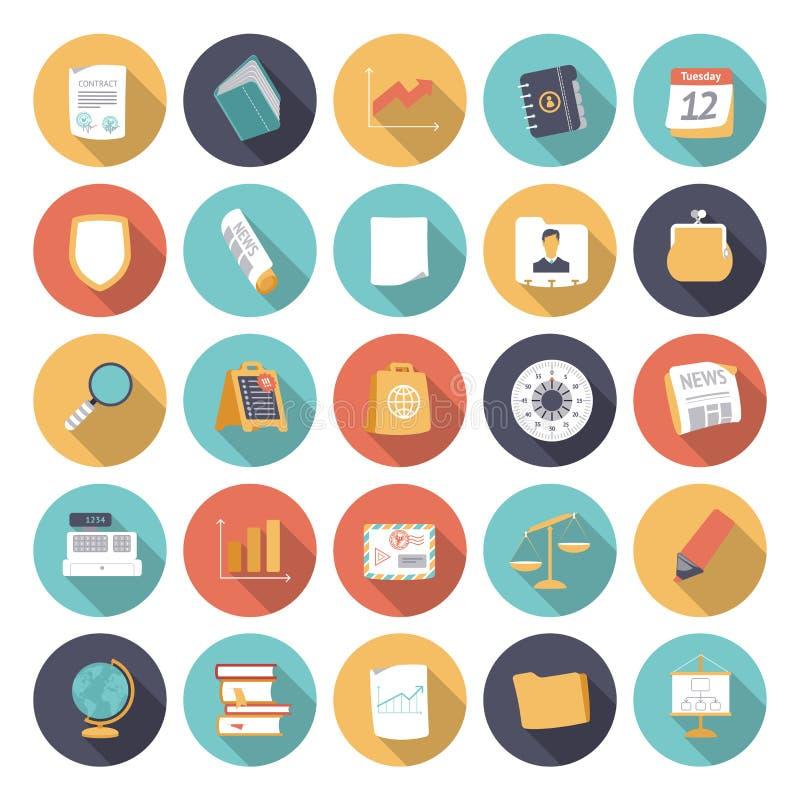 Vlakke ontwerppictogrammen voor zaken en financiën royalty-vrije illustratie