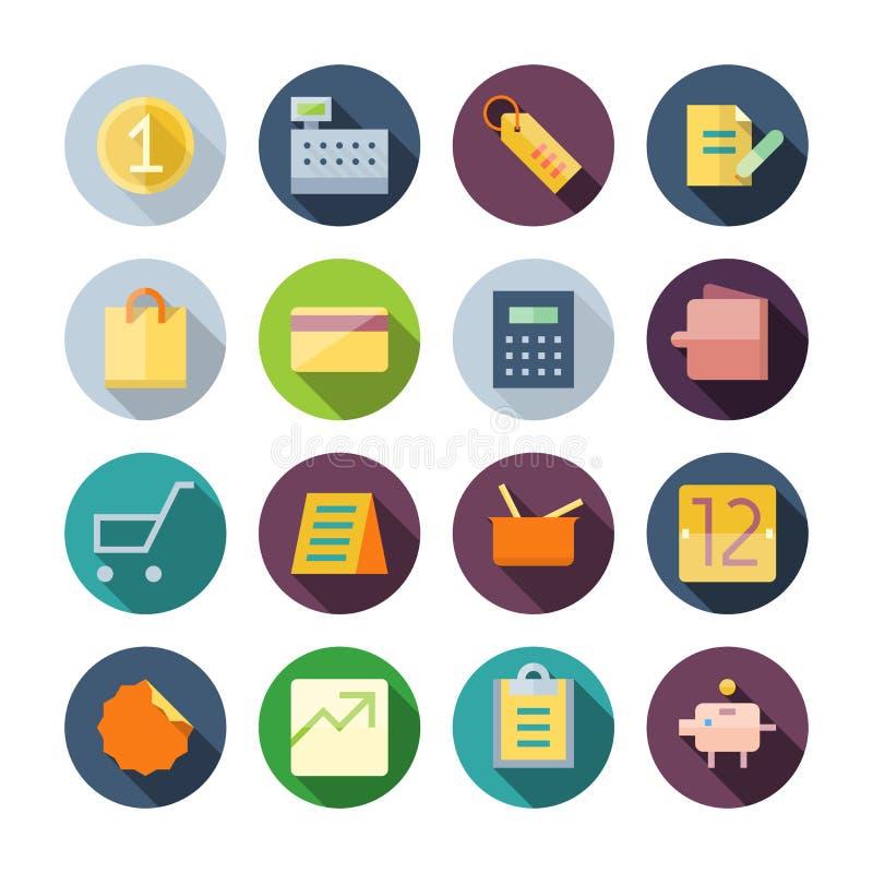 Vlakke Ontwerppictogrammen voor Zaken en Kleinhandel royalty-vrije illustratie