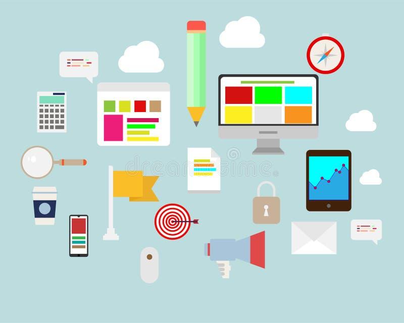 Vlakke Ontwerpreeks Communicatie, Computer, Bericht, van Infographics en Bedrijfs Pictogrammen stock illustratie