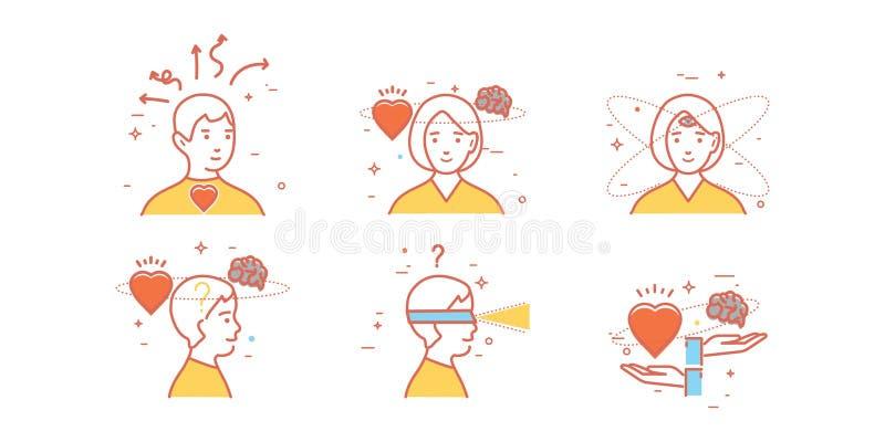 Vlakke ontwerpreeks van intuïtie, inzicht, anticiperen, keus stock illustratie
