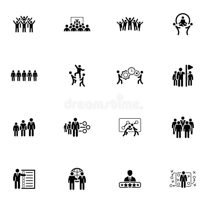 Vlakke Ontwerpzaken Team Icons Set stock illustratie