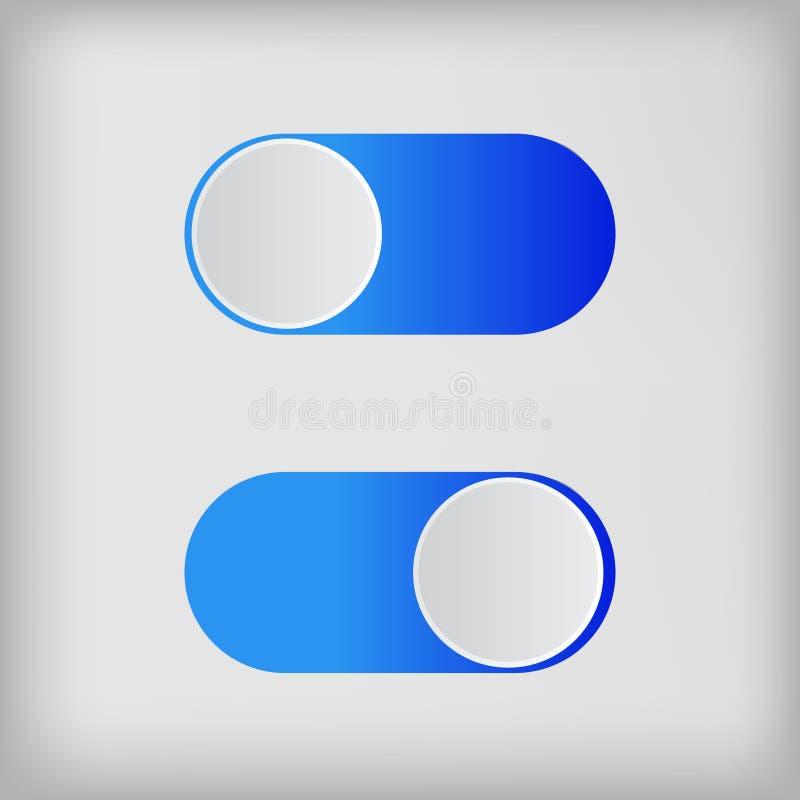 Vlakke pictogram kleurrijke die switchers onoff op witte achtergrond wordt geïsoleerd stock illustratie