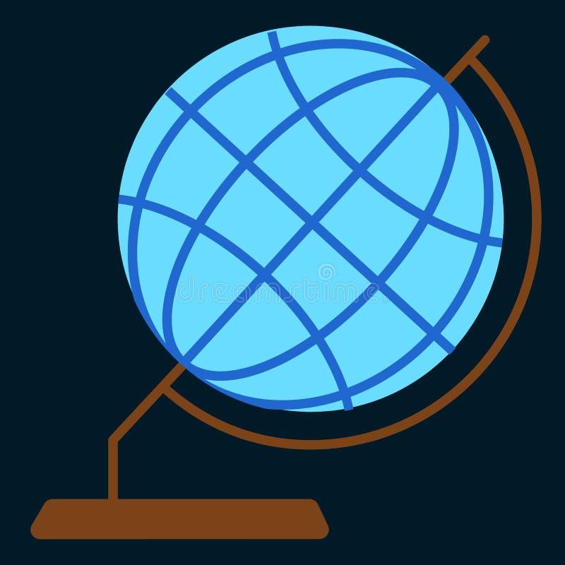 Vlakke pictogram van de Desktop het geografische bol royalty-vrije illustratie