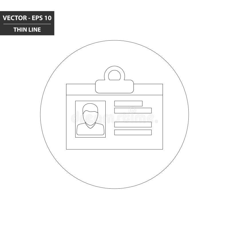 Vlakke pictogram van de identiteitskaart het dunne lijn stock illustratie
