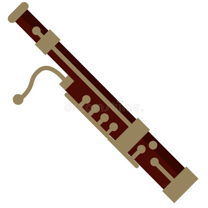 Vlakke pictogram van het fagot het muzikale instrument vector illustratie