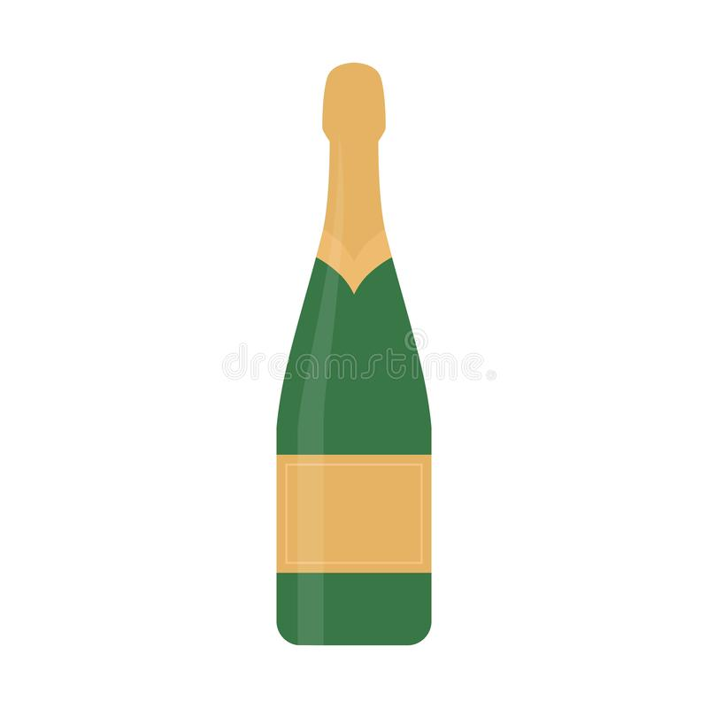Vlakke pictogramchampagne stock illustratie